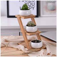 Dekoracyjne małe okrągłe doniczka na sukulenty 3 Tier stojak bambusowy-witryna-dekoracji domu w kolorze białym