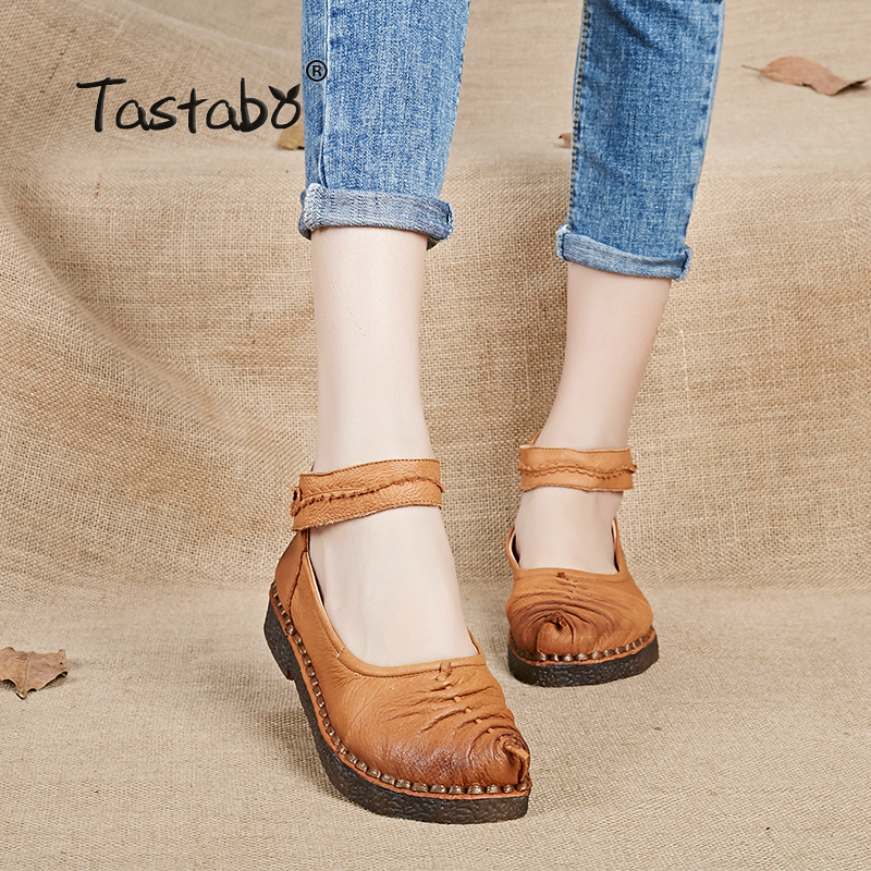 Tastabo Black Solid Flats Spring Vintage Comfortable Genuine Leather Women Shoes Round Toe Lady Driving Shoes 2016 mother shoes genuine leather loafers woman solid color soft comfortable ballet flats flexible round toe ol lady work shoes
