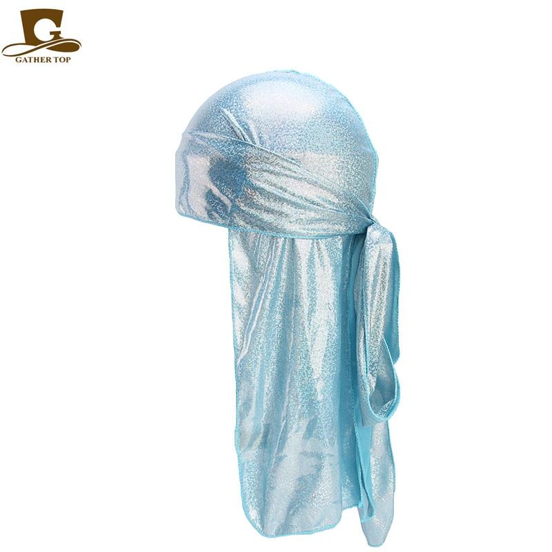 Men 39 s Silky Sparkly Durags Turban Men Durag Shiny Du Rag Bandanas Hat Wigs Doo Durag Biker headwrap Headband Hair Accessories