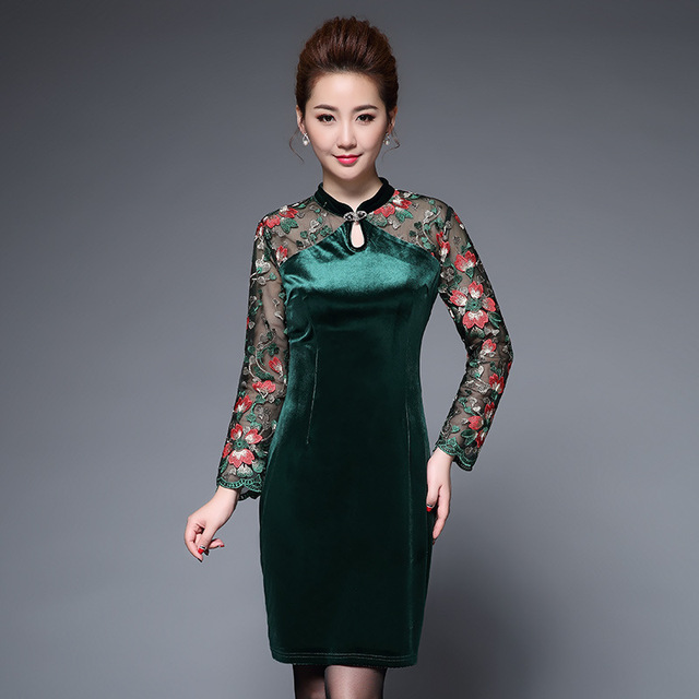 fashion Embroidery patchwork pencil dress women big size Elegant christmas party dress vintage slim waist office dress