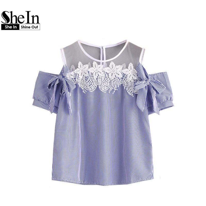 SheIn Womens Blouses Summer Ladies Blue Vertical Pinstripe Contrast Lace Bow Tie Detailed Top Short Sleeve