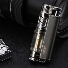 2017 Machinery Design Retro Metal Torch Lighters Flameless Straight windproof Cigarette Lighter Inflatable Gas Butane Fire Gift