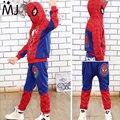 2017 Nuevo Hombre Araña Niños Que Arropan Los Muchachos Spiderman Cosplay traje Del Juego Del Deporte Los Niños Establece Jacket + Pants 2 unids Niñas ropa