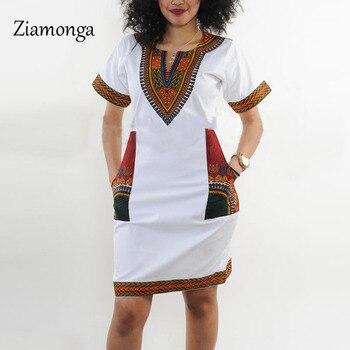 Ziamonga XXXL Plus Size Women Clothing 2017 Fashion Short Sleeve Black White Bodycon Dress Vintage Traditional Printed Dresses