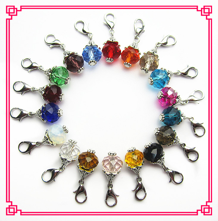 Hot selling 18pcs/lot mix 18 color rhinestone crystal dangle charms lobster clasp charms for glass pendant lockets diy jewelry