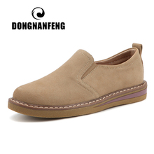 DONGNANFENG Women Ladies Mother Female Cow Suede Genuine Leather Shoes Flats Loafers Slip On Pigskin British Korean ZDRS 978