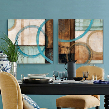 Blue and brown circles modern abstract oil painting canvas wall art free shipping decorative artist for home office circle