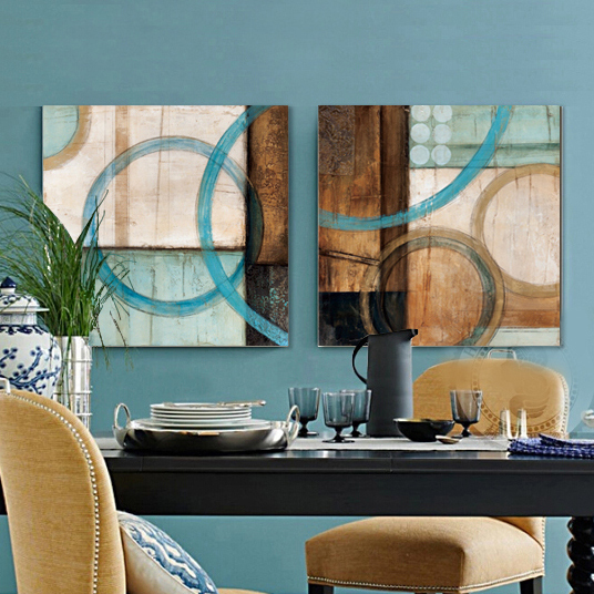 Blue Brown Circles Modern Abstract Oil Painting Canvas Wall Art Decorative Artist Home