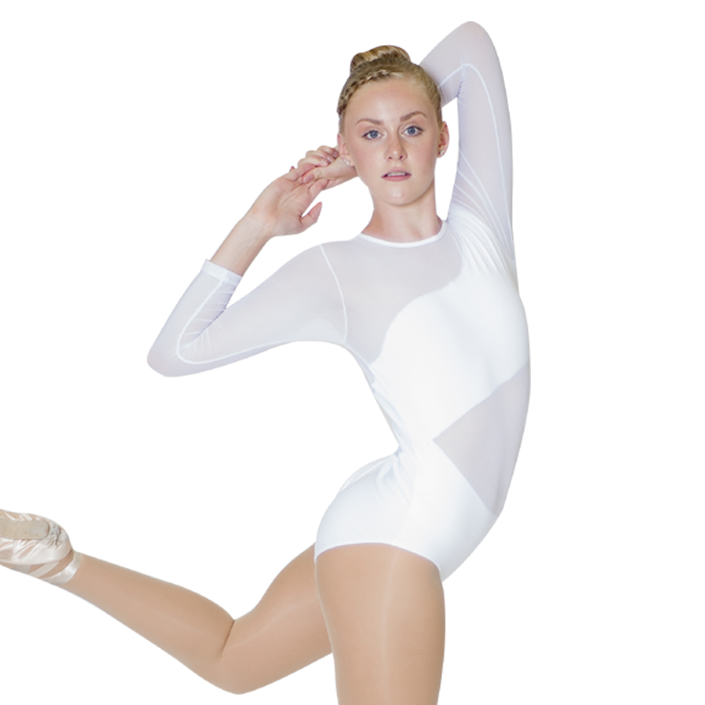 White Cotton/Lycra Mesh Long Sleeve Ballet Dancing Leotard for Performance for Ladies and Girls