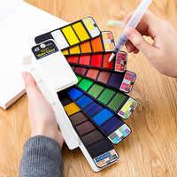 Ensemble de peinture aquarelle solide supérieure 18/25/33/42 avec stylo brosse à eau Pigment de couleur de l'eau de voyage pliable pour la livraison directe de tirage
