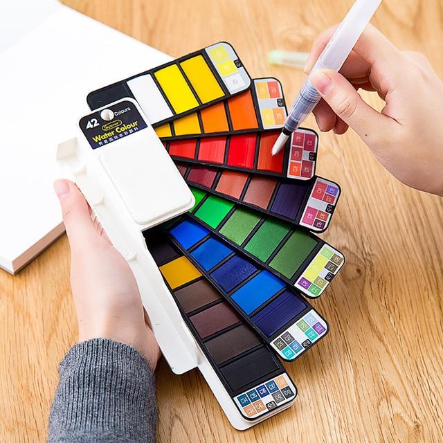 Juego de pintura de acuarela sólida Superior 18/25/33/42 con pincel de agua plegable Color de viaje pigmento para dibujar Dropshipping