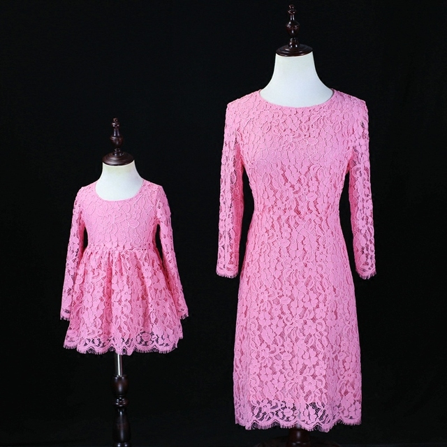 81977e97d5176 Automne Famille soeur Regardez Vêtements enfant mère bébé filles rose  Princesse formelle de soirée Robe Maman