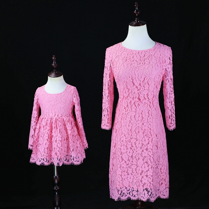 Autumn Family sister Look Clothes child mother baby girls pink Princess formal evening Dress Mom and Daughter party lace dresses winter mother and daughter dress family matching clothes cat print warm thick flannel lining mom infant girls party formal dress