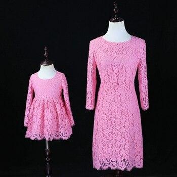 8bf6abb2cc529 Sonbahar Aile kardeş Görünüm Elbise çocuk anne bebek kız pembe Prenses örgün  akşam Elbise Anne ve Kızı parti dantel elbiseler