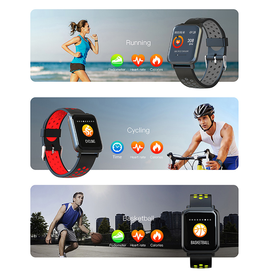 Men Tempered glass Fitness Tracker Blood pressure Waterproof Women Smartwatch 3
