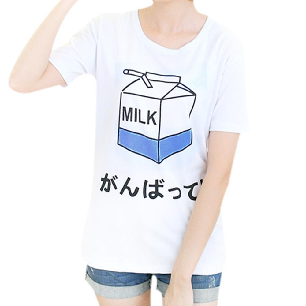 White t shirt express - 2017 Summer New Women S T Shirt Wholesale Korean Ladies Tees Cute Milk Printing Female Tops Student Short Sleeved Loose T Shirt