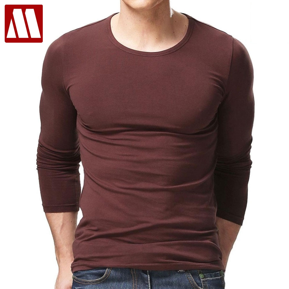 64bb3dd4 2019 Long Sleeve t shirt Men Round Neck Top Tees Mens T Shirts Fashion  elastic cotton. Mouse over to zoom in