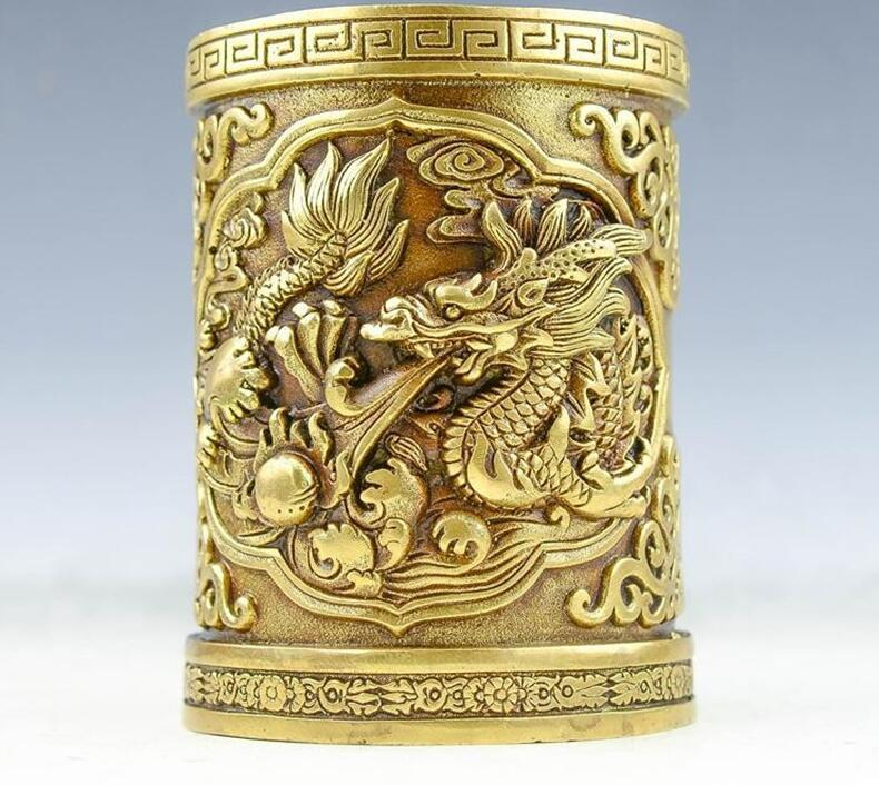 China Pure Brass Dragon Dragons Pen Container Brush Pot Pencil Vase Statue