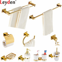 Leyden Gold Brass Bathroom Accessories Set Wall Mounted Towel Bar Holder Toilet Paper Holder Robe Hook Bath Hardware Sets