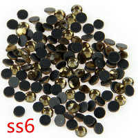 1000Gross Smoke Topaz SS6 Glass Crystal Hot Fix Stones Loose Rhinestone Strass Flack Back With Glue