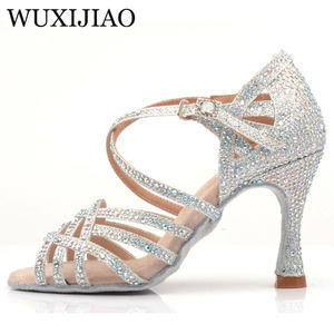 Image 2 - WUXIJIAO Silver Blue Rhinestone Latin Dance Shoes Women Salas Ballroom Shoes Pearl High Heel 9cm Waltz Software Shoes Hot Sale