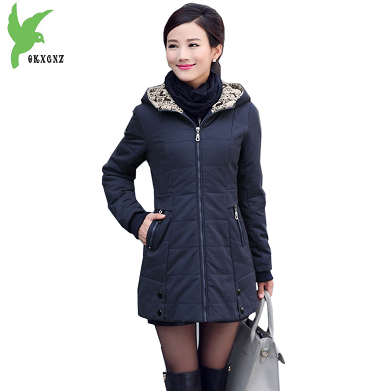 Middle aged Women Jacket Coat Cotton   Parkas   Boutique Hooded Jacket Thick Warm Mother Costume Plus size Slim Outerwear OKXGNZ1124