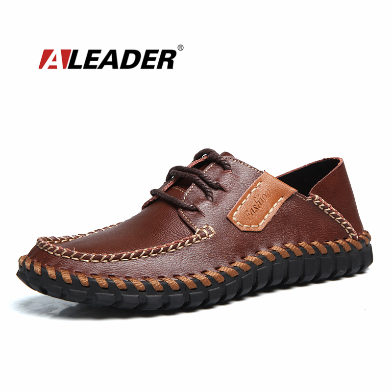 Aleader Genuine Leather Men Shoes Casual Autumn Handmade Designer Shoes Fashion Dress Shoes For Men oxfords sapatos masculinos