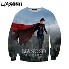 9265166a9dd94 LIASOSO otoño nueva moda Sudadera con capucha hombres mujeres 3D impresión  película Superman sudadera Casual lindo