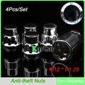 4 Unids/set M12x1.25 Wheel Lock Tuercas Antirrobo con Llave de Seguridad, coche Tuerca de Tornillo de Seguridad Clave Envío Libre