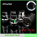 4Pcs/Set M12x1.25 Antitheft Wheel Lock Lug Nuts with Security Key, Car Safe Key Screw Nut Free Shipping
