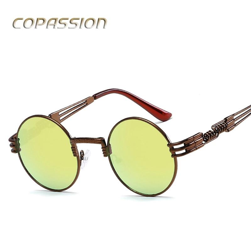Vintage retro gothic steampunk sunglasses wome goggles round metal frame sun glasses retro circle glasses men uv400 gafas de sol