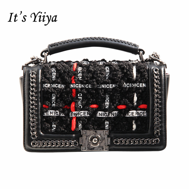 It's YiiYa Hot Black Women HandBag Fashion European Style Chains Letter Pattern Diamond Lattice Girls Messenger Bags SS1278 карабин black diamond black diamond rocklock twistlock