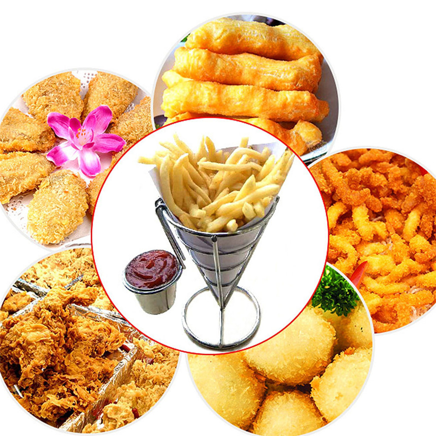 OuneedChip Stand Holder French Fry Fries Bowl Black Metal Wire Kitchen Metal Fry S cocina*30 2017 hot sale cake decorating tools