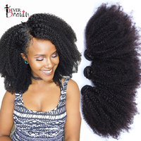 Mongolian Afro Kinky Curly Weave Human Hair Extensions 4B 4C Virgin Hair 1 Or 3 Bundles Natural Black 10 24inch Ever Beauty