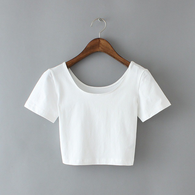 2016 new best-selling women's U-neck short sleeve T-shirt sexy lady crop Short Tee shirts basic shirts.