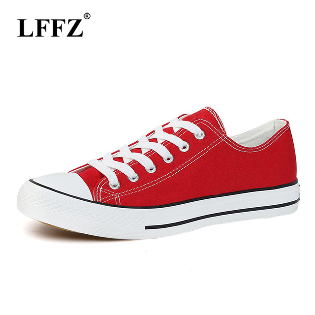 b37199d74e lzzf Classic Women Canvas Shoes Female Casual Sneakers for Woman Round Toe  Lace Up Solid Red White Black Blue Plus Large Size 44