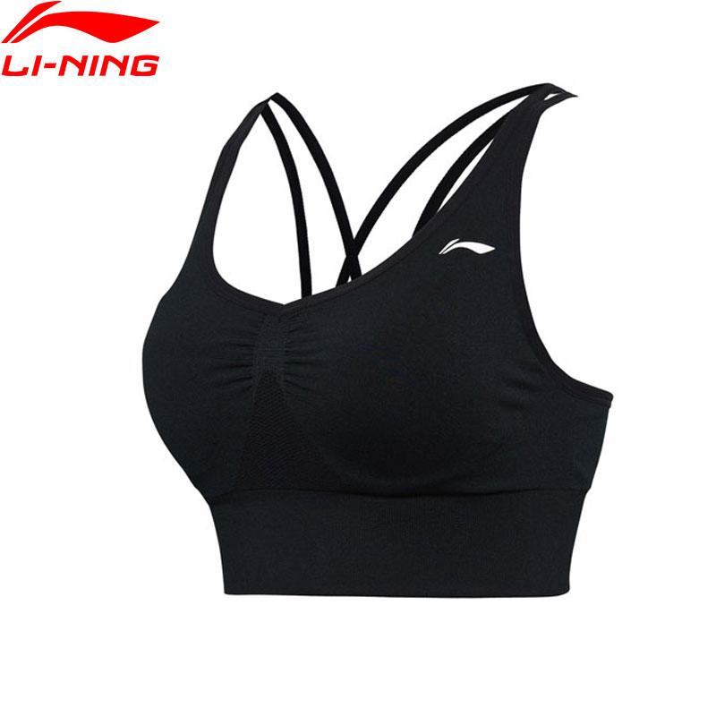 Li-Ning Women Training Running Bras Layer Light Support Tight Fit Comfort Li Ning Breathable Sports Fitness Bras AUBM172