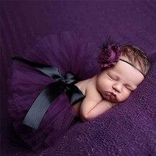 Новорожденных Подставки для фотографий маленьких юбка-пачка розовый младенческой фото костюм элегантный Дизайн реквизит для фотосессии кружевные платья и оголовье, набор