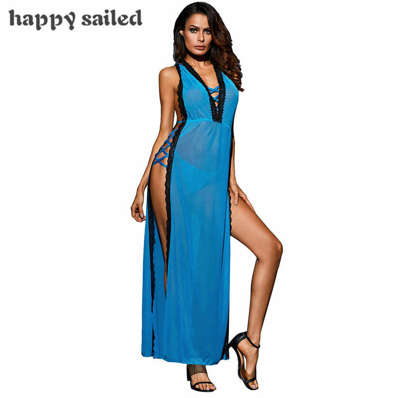 b8d36b76c0 Happy Sailed nightgowns sleepwear robe 2 Pieces Hot Blue All Over Lace  Sleeveless Long Gown for