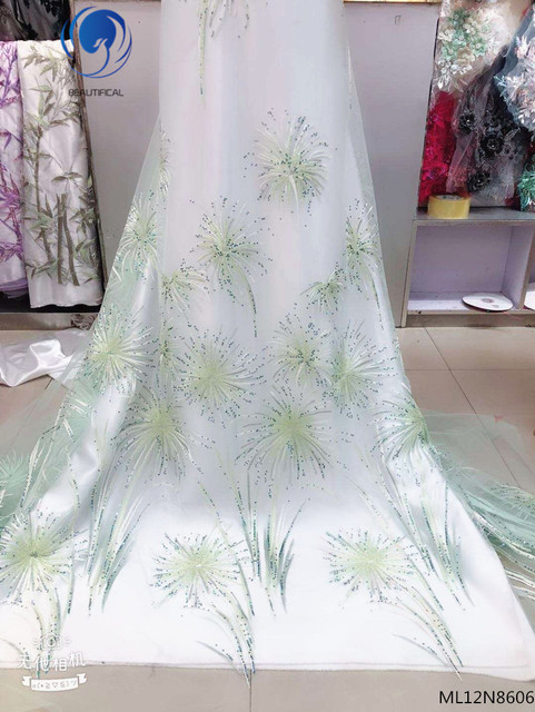 Beautifical Nigerian lace fabrics high quality french net lace with beaded and sequins embroidery tulle lace 5yards ML12N86