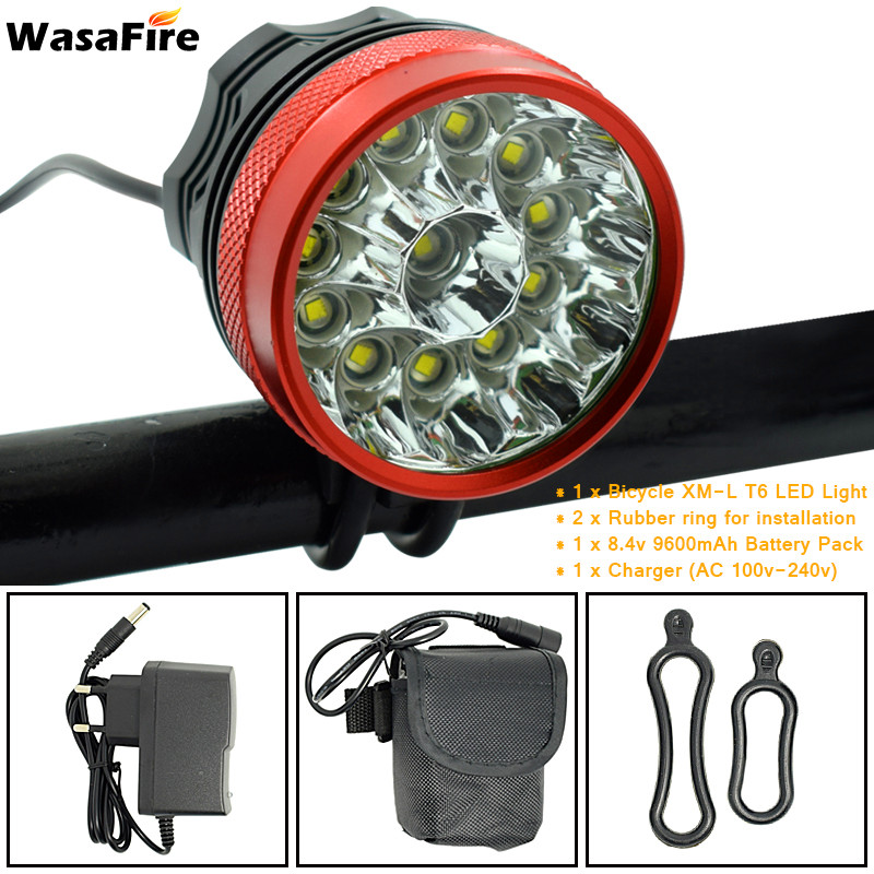 WasaFire 20000lm 12* XM L T6 LED Bicycle Light Cycling Bike Light Headlight Flashlight Fishing Frontlight Frontlamp 3 Modes Lamp|t6 led bicycle|led bicycle light|bicycle light - title=