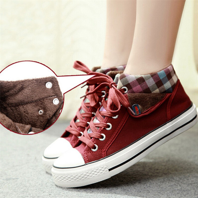 Canvas Shoes Checkered Wedge Platform Creepers Fashion Woman 35-40 Casual Lace-Up XWC374
