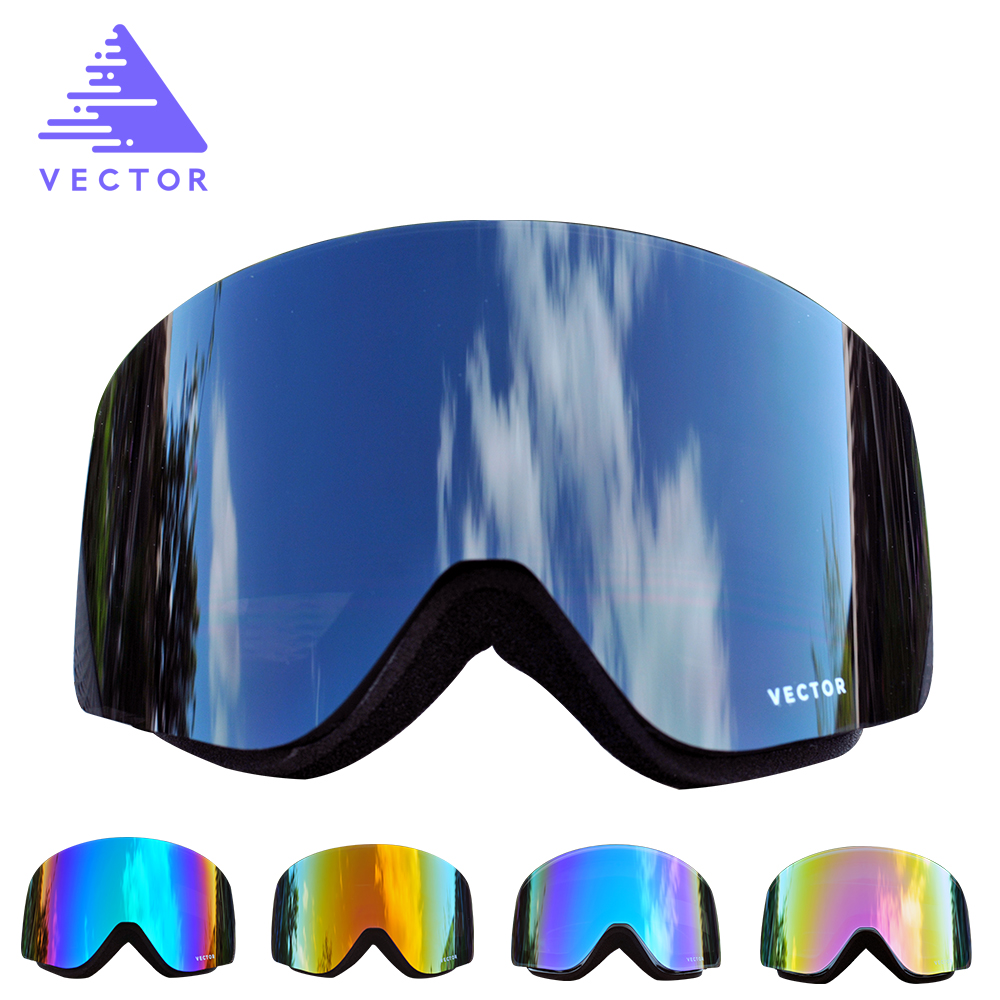 VECTOR Ski Goggles Men Women 2 Lens Anti-fog UV400 Skiing Eyewear Adult Winter Snowboard Snow Goggles Skating Mask Ski Glasses vector brand ski goggles men women double lens uv400 anti fog skiing eyewear snow glasses adult skiing snowboard goggles