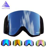 VECTOR Ski Goggles Men Women 2 Lens Anti fog UV400 Skiing Eyewear Adult Winter Snowboard Snow Goggles Skating Mask Ski Glasses