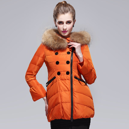 2015 Hot Thicken Warm Woman Down Jacket Hooded Luxury Raccoon Fur Collar Long Coats Outerwear Slim Plus Size 2XL H4403 2016 new hot winter thicken warm woman down jacket coat parkas outerwear hooded raccoon fur collar long plus size xxxl slim cold