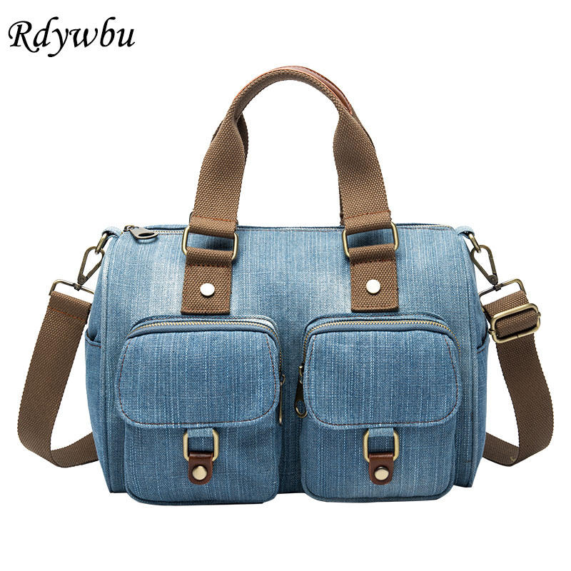 Rdywbu Luxury Brand Women Bag 2019 Fashion Denim Handbags Female Jeans Shoulder Bag New Design Women Tote Crossbody Bag B726