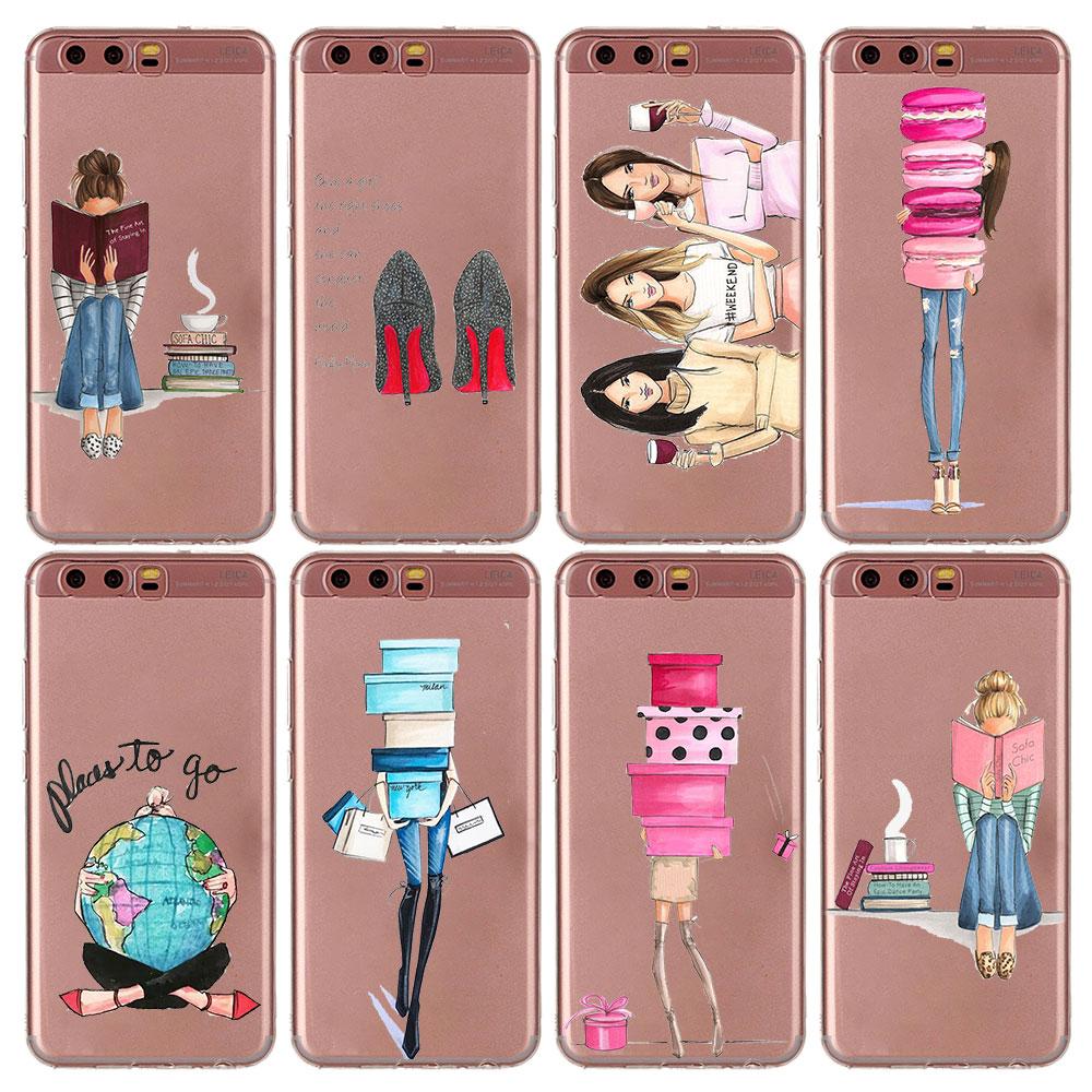 Мягкий силиконовый чехол для телефона красивая девушка Красота принцессы ТПУ силиконовый чехол для телефона для huawei P20 P20Lite P10 P8 P9 Lite 2017 P Smart
