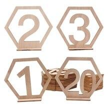 20 шт. шестигранный 1-20 номеров деревянный стол с подставкой лучший стол Свадебная вечеринка украшение дома
