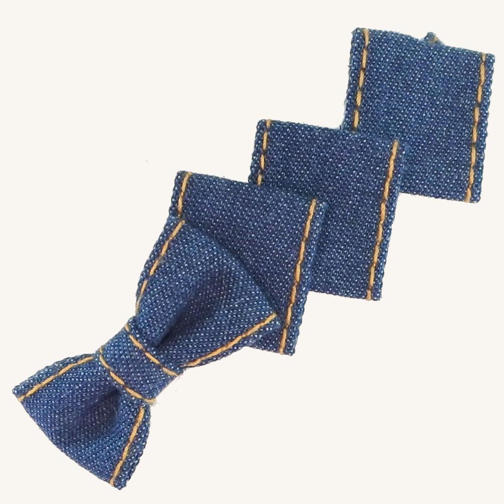 Vysoce kvalitní Denim vlasové doplňky Jednobarevný luk se čtvercovými pružinovými sponami pro ženy Denim Bow Barrettes Girls Headwear