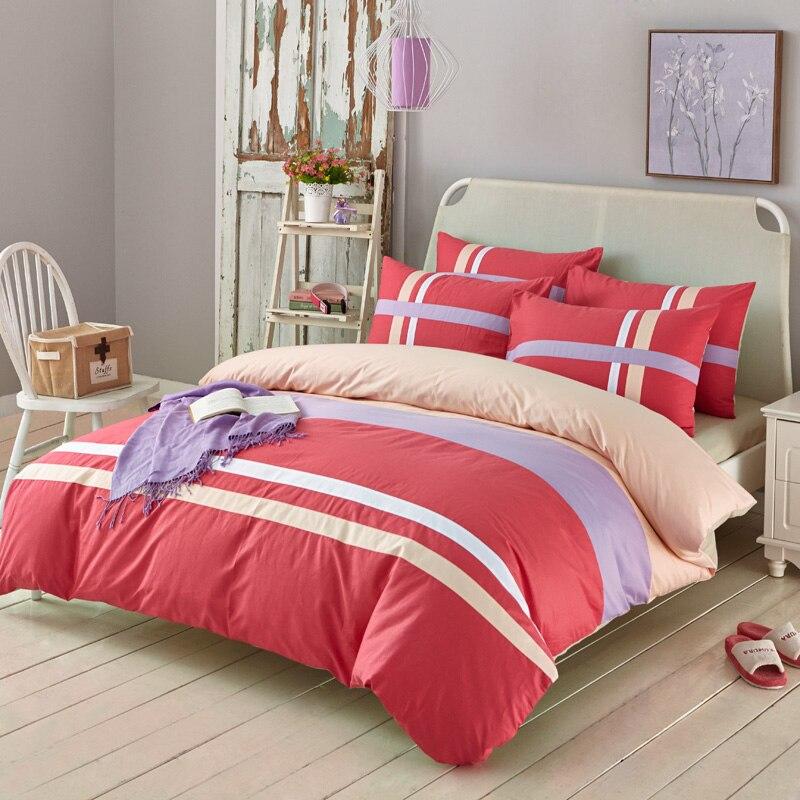 0b678e3ff3521 Online Shop Solid color red purple beige strips cotton woven 4pcs bedding  set king queen twin home textiles bed linens single double bed5785